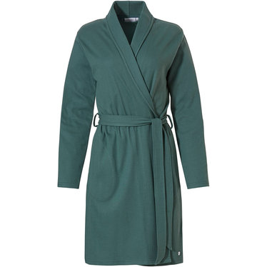 Pastunette dark forest green microwaffle-cotton wrap-over morning gown with shawlcollar, belt and two pockets