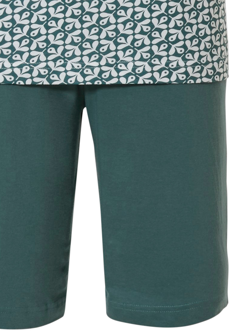 Pastunette for Men 'abstract garden glory' green mens 100% cotton shorty set with 4 buttons, chest pocket and green shorts with elasticated waist