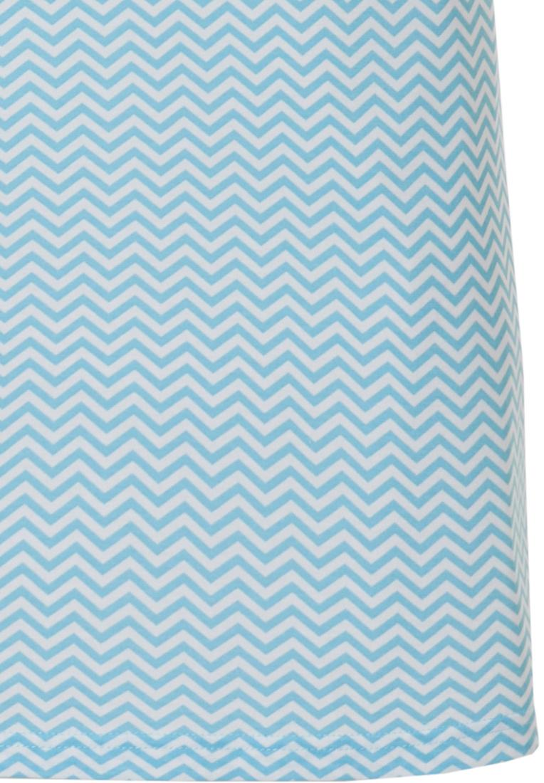 Pastunette Deluxe 'Retro ZigZag' pure white & true blue topaz ladies sleeveless cotton - modal nightdress with chest pocket