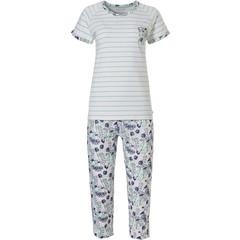 Pastunette ladies organic cotton short sleeve pyjama set 'stripes & spring waterflower garden'