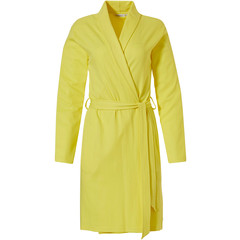 Pastunette ladies yellow microwaffle-cotton morning gown with shawlcollar