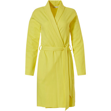 Pastunette sunshine yellow microwaffle-cotton wrap-over morning gown with shawlcollar, belt and two pockets