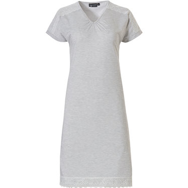Pastunette Deluxe 'striped elegance & lace' light shade of grey & pure white luxury 'v 'neck short sleeve nightdress with pretty hearts patterned white lace trimmings on shoulders and hem