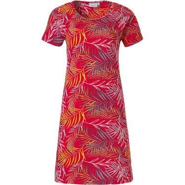 Pastunette 'pretty passion red' red short sleeve cotton nightdress with an all over leafy pattern