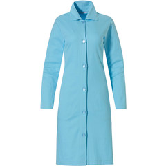 Pastunette ladies light sea blue full button micro waffle morning gown