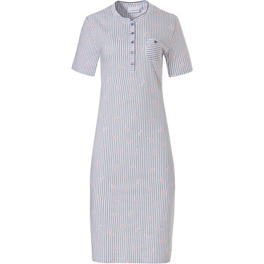 Pastunette 'origami birds' pure white & blue fine stripes, short sleve cotton nightdress with 5 buttons and chest pocket