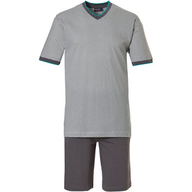 Pastunette for Men 'all linked up' mid grey, white & green mens 100% cotton shorty set with 100% cotton grey shorts with an elasticated waist