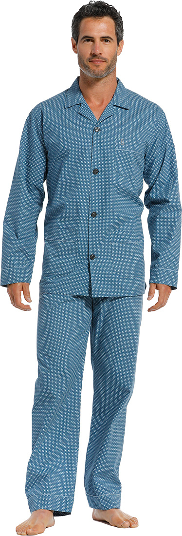 Robson 'neat squares' sky blue long sleeve 100% woven cotton, men's full button Summer pyjama with revere collar, chest pocket, two front pockets and long matching 'neat squares' patterned pants with en elasticated waist and pockets