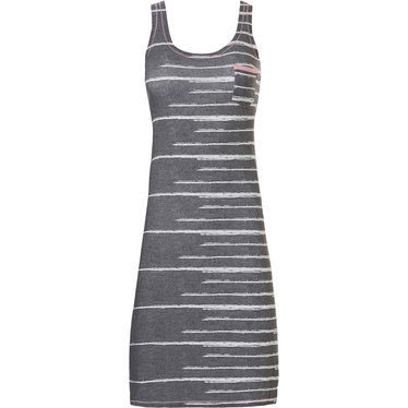 Rebelle 'just the code' grey & rose pink trendy sleeveless nightdress with chest pocket and fashionable 'just the code print' as a fashion show stopper!
