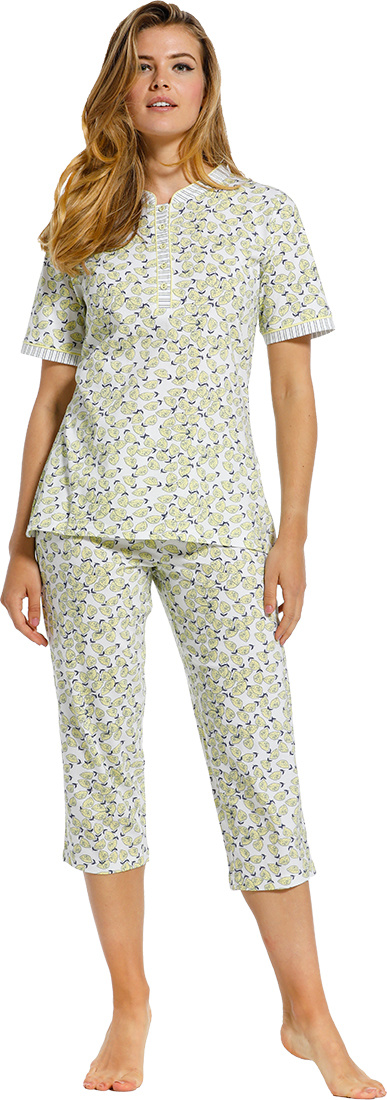 Pastunette ''fruity little lemons & stripes' pure white, pale yellow & dark blue short sleeve, ladies 100% cotton fruity pyjama set with 5 buttons, an all over 'fruity little lemons' pattern, striped trimmings and matching 3/4 pants