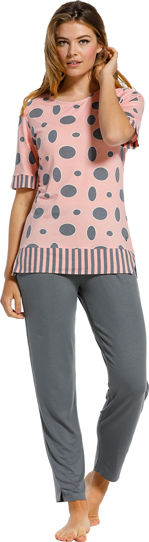 Pastunette Deluxe 'oval dots & stripes' salmon pink & grey short sleeve 95% modal pyjama set with an all over 'oval dots & stripes' pattern and long grey pants