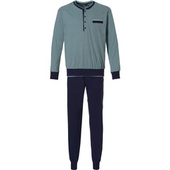 Pastunette for Men groene, katoenen heren pyjama met boorden 'all linked up'