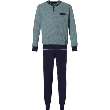 Pastunette for Men 'all linked up' light green & dark blue 100% cotton mens pyjama set with 4 buttons and long dark blue cuffed pants with an elasticated waist