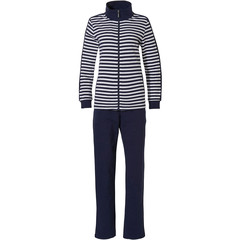 Pastunette donkerblauw, zomers, lounge-stijl huispak met ritssluiting 'perfect horizontale lijnen'