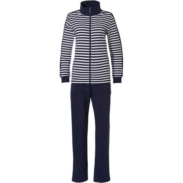 Pastunette 'perfect horizontal lines' pure white & dark blue ladies comfy lounge-style homesuit with full zip, side arm stripe and long dark blue pants