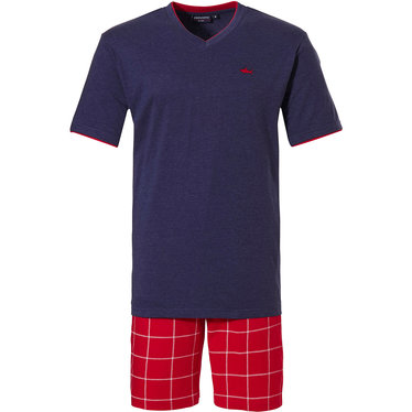 Pastunette for Men 'cool red shark, check it out' red, white & blue 80% cotton - 20% polyester mens shorty set with a 'cool red shark' and trendy 'check it out' patternred 100% cotton red & white checked shorts