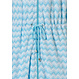 Pastunette Deluxe 'Retro ZigZag' pure white & true blue topaz ladies robe with full zip, collar, tie-waist with two pockets and all over 'Retro ZigZag' pattern which contains bamboo