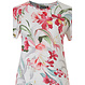 Pastunette Deluxe 'Hawaiian tropical flower' pure white & coral red ladies short sleeve pyjama with an all over pretty 'Hawaiian tropical flower' pattern and matching long pants