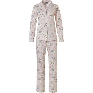 Pastunette Deluxe 'la femme fleur' romantic pink rose, soft as satin, long sleeve cuddle satin full button pyjama with revere collar, chest pocket, an all over 'la femme fleur' pretty floral pattern and matching long pants