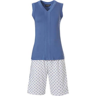 Pastunette Deluxe 'geometric dots & stripe' pure white & mid sky blue sleeveless shorty set with 'v' neck top and  'geometric dots & stripe' shorts
