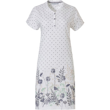 Pastunette 'dots & spring waterflower garden' pure white & light purple ladies organic cotton nightdress with v neck and 3 buttons
