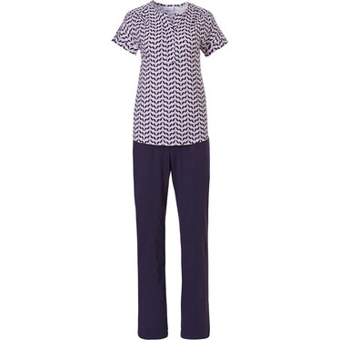 Pastunette 'dewdrop petals' pink, white & blue short sleeve cotton pyjama set with a neat little 'v' pleated front and long dark blue pants