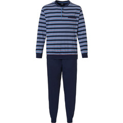 Robson men's cotton pyjama with long cuffed pants 'stripes'n'style'