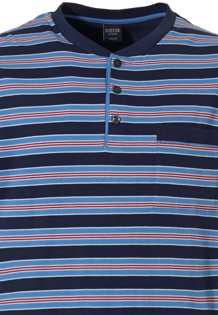 Robson 'stripes'n'style' dark blue, cadet blue & red men's long sleeve stripey cotton pyjama with 3 buttons, chest pocket and long dark blue cuffed pants with an elasticated waist