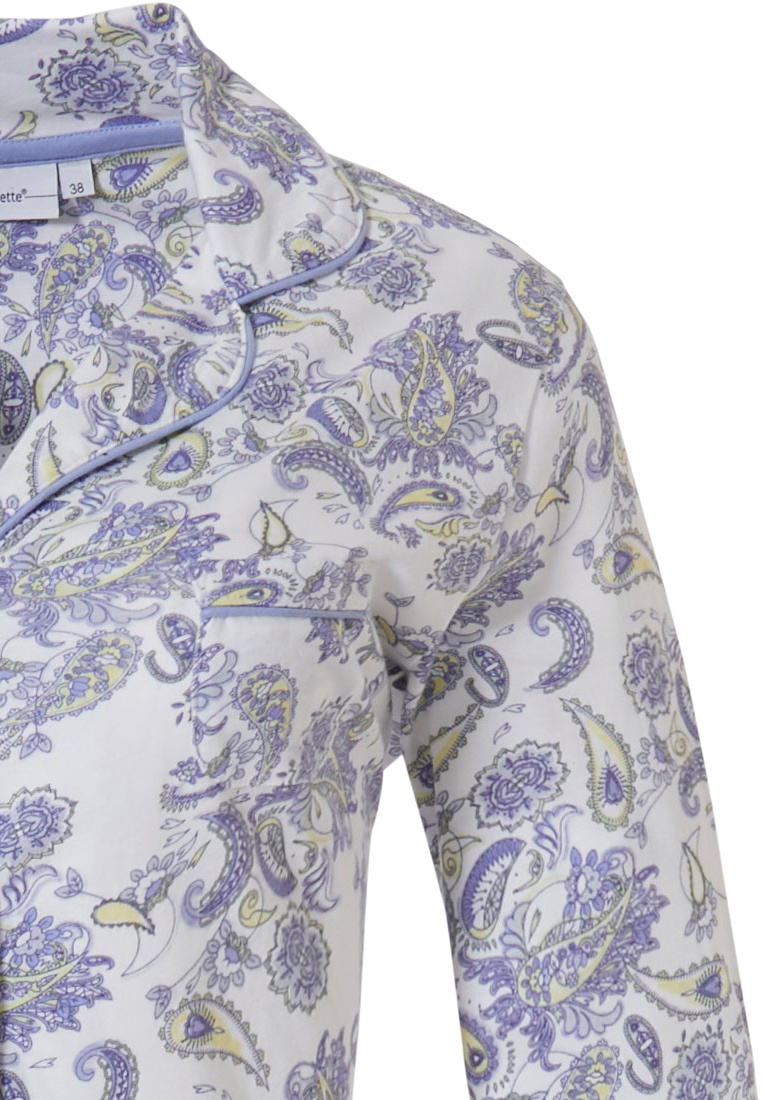 Pastunette 'paisley dreams' white & pale blue organic cotton 3/4 sleeve, full button nightdress with revere collar and all over paisley print pattern