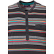 Pastunette for Men 'multi stripes' dark grey, orange & blue mens cotton shorty set with 4 buttons, chest pocket, a modern 'multi stripes' pattern and grey cotton shorts with an elasticated waist