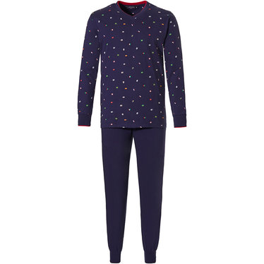 Pastunette for Men 'dream traveller' dark blue mens long sleeve 100 % cotton pyjama set with 'v' neck, 'dream traveller' with  world of flags pattern and long dark blue cuffed pants with an elasticated waist
