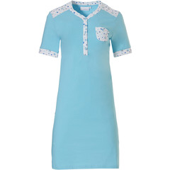 Pastunette short sleeve sky blue cotton nightdress with buttons 'mysterious circles'