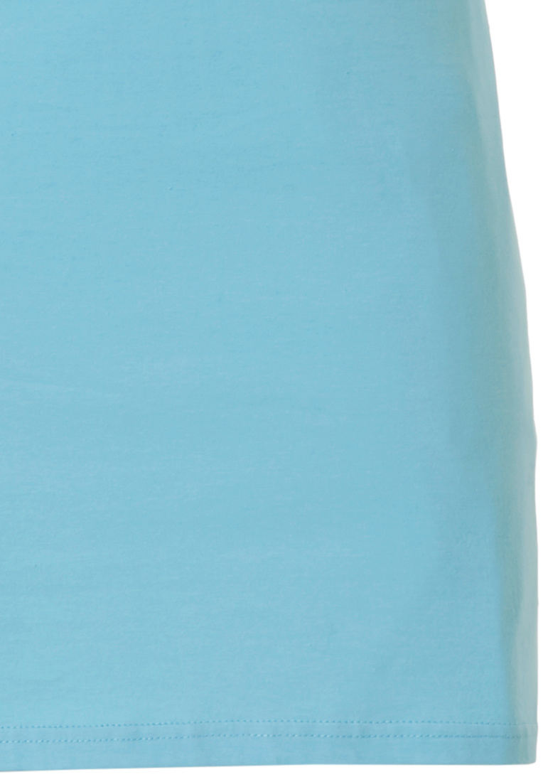 Pastunette 'mysterious circles' light sky blue & pure white, 100% cotton, short sleeve nightdress with 5 buttons and matching 'mysterious circles' trim on neckline, shoulders, sleeves and chest pocket