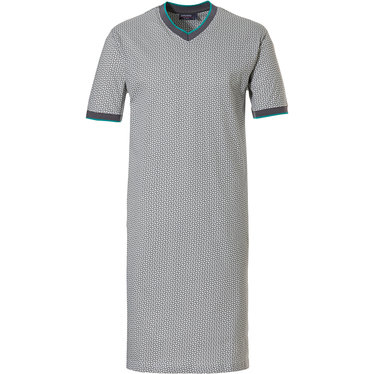 Pastunette for Men 'all linked up' mid grey, white & green mens 100% cotton short sleeve nightdress with 'v 'neck