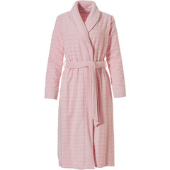 Pastunette ladies wrap-over terry robe with shawlcollar 'soft horizontal lines'