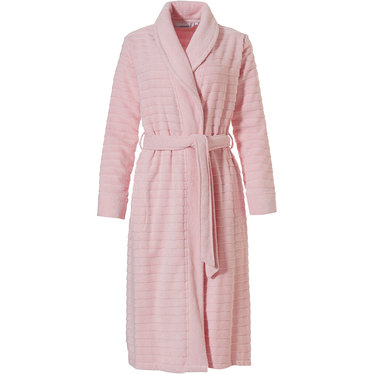 Pastunette 'soft horizontal lines' pretty pale pink, 100% cotton terry, wrap-over morninggown with shawlcollar, belt and two pockets