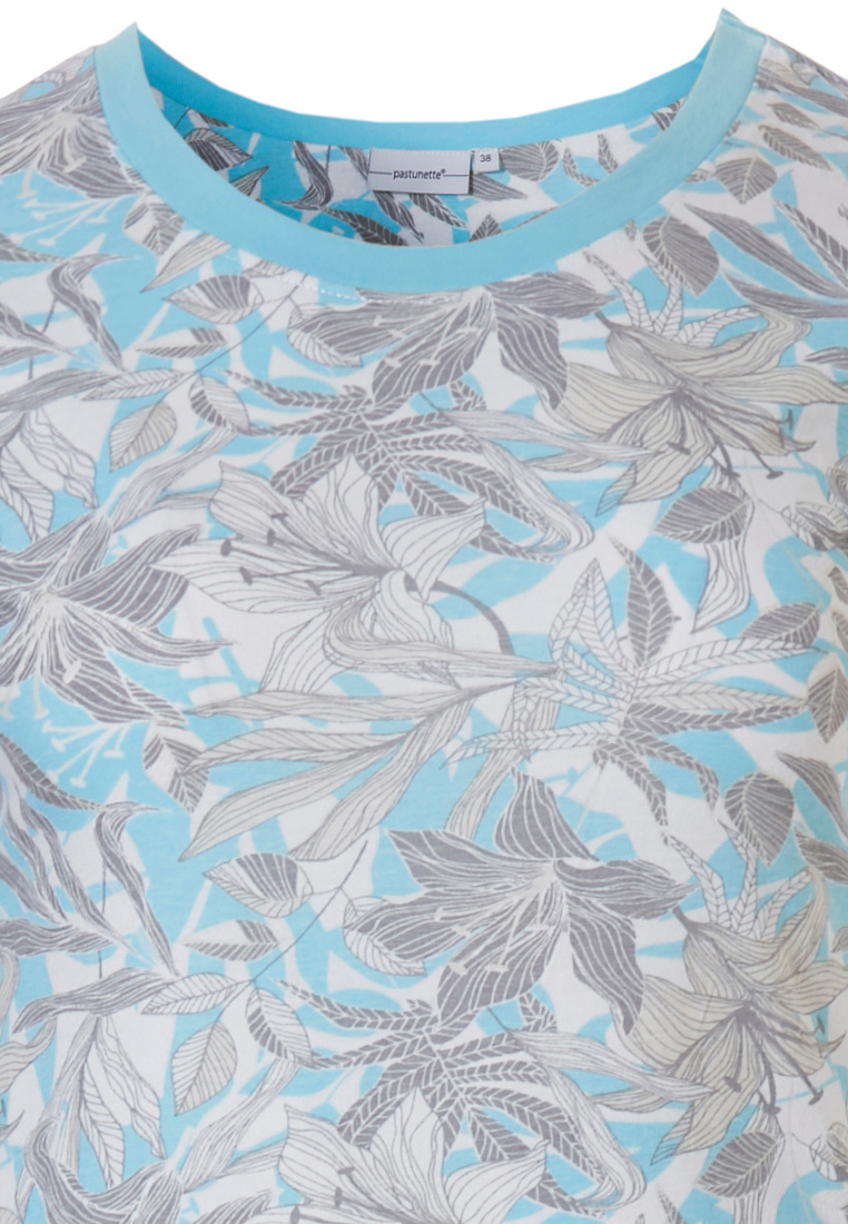 Pastunette 'floral dream garden' light sky blue & pure white ladies 100% cotton short sleeve nightdress with matching trim on neckline, sleeves and an all over pretty floral design pattern you will love to be seen in!