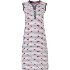 Pastunette sleeveless cotton nightdress with buttons & pockets 'paradise bird flower'