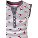 Pastunette 'paradise bird flower' white, red & grey sleeveless cotton nightdress with 4 buttons, stripes, floral print and two front pockets