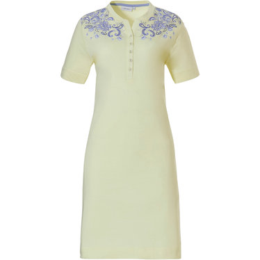 Pastunette 'paisley dreams' Summer yellow & pale blue short sleeve organic cotton nightdress with 5 buttons and a paisley pattern on shoulders