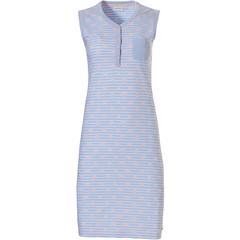 Pastunette ladies sleeveless cotton nightdress with buttons '♥ heart lines ♥'