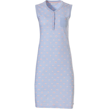Pastunette '♥ heart lines ♥' pale blue & pink stripey sleeveless cotton nightdress with 4 buttons, chest pocket and pretty pink '♥ heart lines ♥' pattern