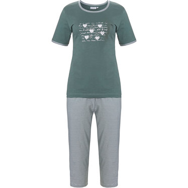 Pastunette '♥ Lucky in Life ♥ ' sage green & pure white 100% cotton short sleeve ladies pyjama set with pretty diamante detail on front and stripey 3/4 pants