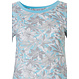Pastunette 'floral dream garden' light sky blue & pure white ladies 100% cotton, short sleeve pyjama set with matching trim on neckline, sleeves and an all over pretty floral design pattern and 3/4 light sky blue pants