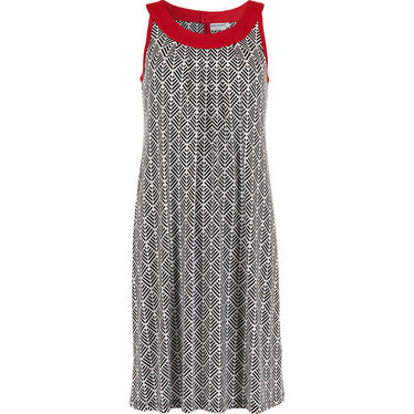 Pastunette Beach 'abstarct holiday palm' pure white red & black sleeveless beachdress with flattering front- Perfect look for your Summer wardrobe!