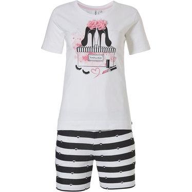 Rebelle 'Miss Fashion pink blooms & love ♥ to love ♥ stripes' white, roze pink & dark blue shorty set with chic 'Miss Fashion pink blooms' picture on front  and 'love ? stripes' shorts with fashion show stopper!