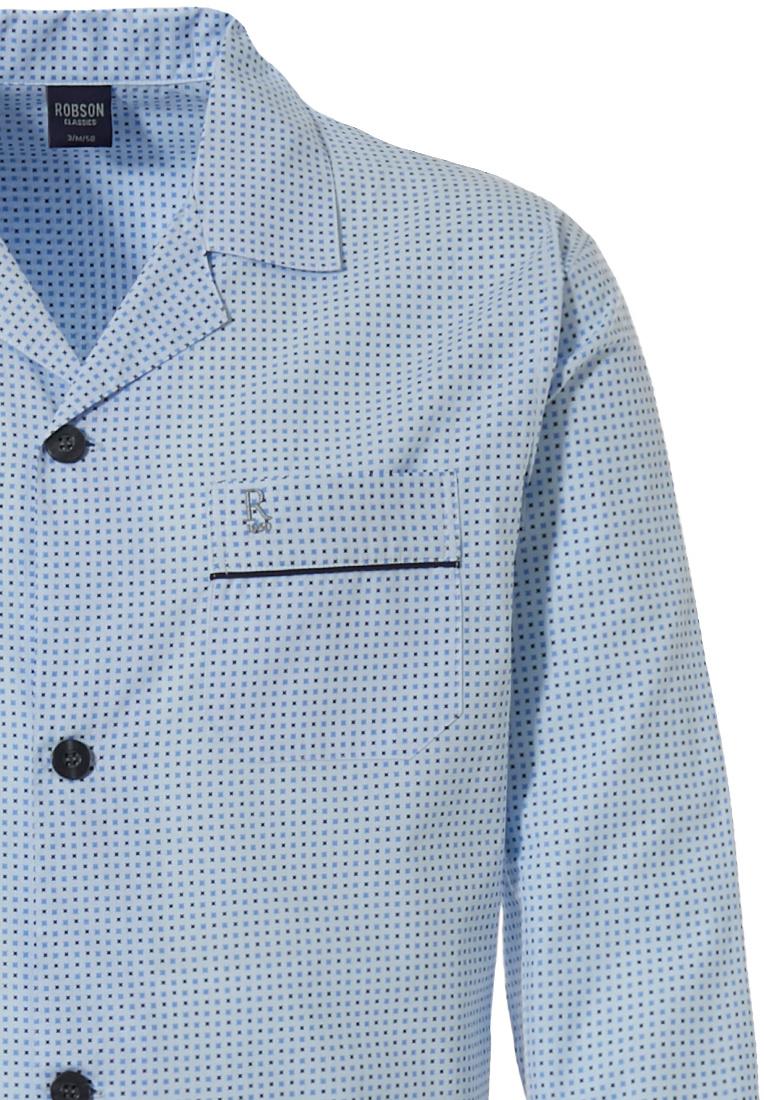 Robson geweven katoenen doorknoop heren pyjama 'neat squares'
