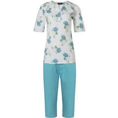 Pastunette short sleeve cotton pyjama set with buttons 'floral blue classic'