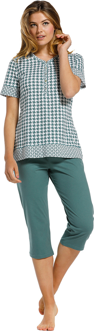 Pastunette 'geometrical pied de poele & circles & stars' pure white & sage green short sleeve cotton pyjama set with 5 buttons, matching 'circles & stars' trim on neckline, sleeves, shoulders & hem and jade green 3/4 pants