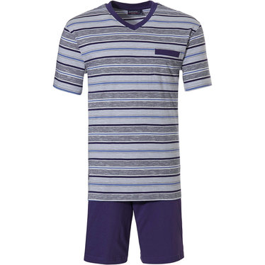 Pastunette for Men 'just the stripes' modern mix of blues 100% cotton mens shorty set with 'v' neck and blue shorts with an elasticated waist